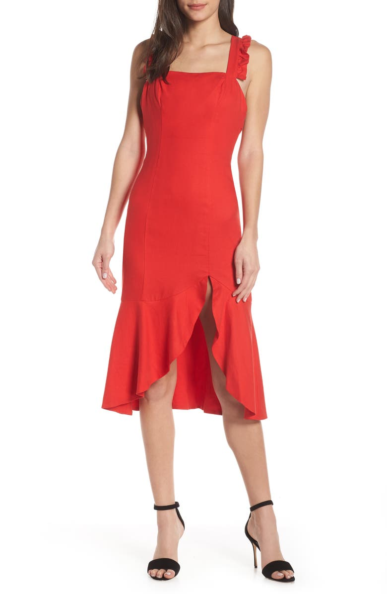FINDERS KEEPERS Aranciata Midi Dress, Main, color, RED