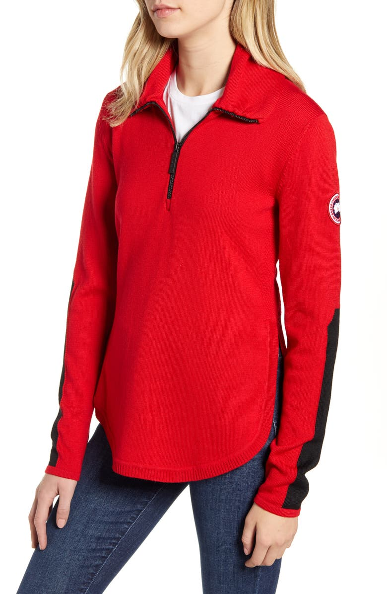 CANADA GOOSE Fairhaven Quarter-Zip Sweater, Main, color, RED