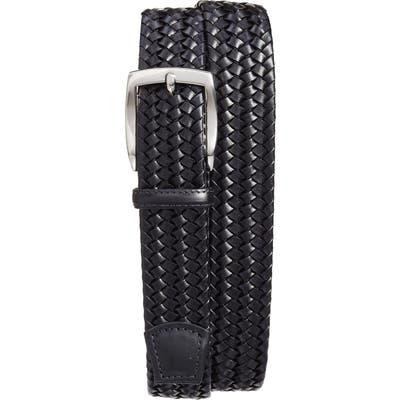 Torino Woven Leather Belt, Black
