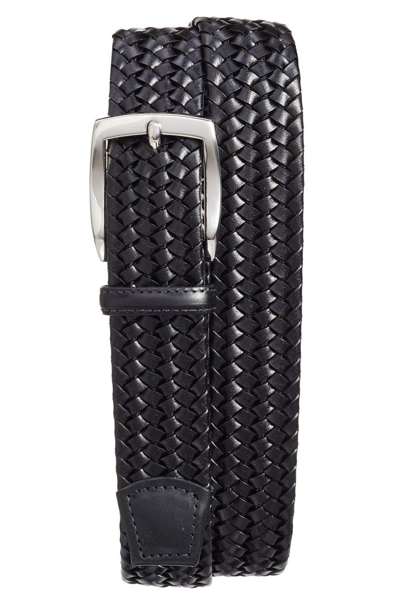 TORINO Woven Leather Belt, Main, color, BLACK