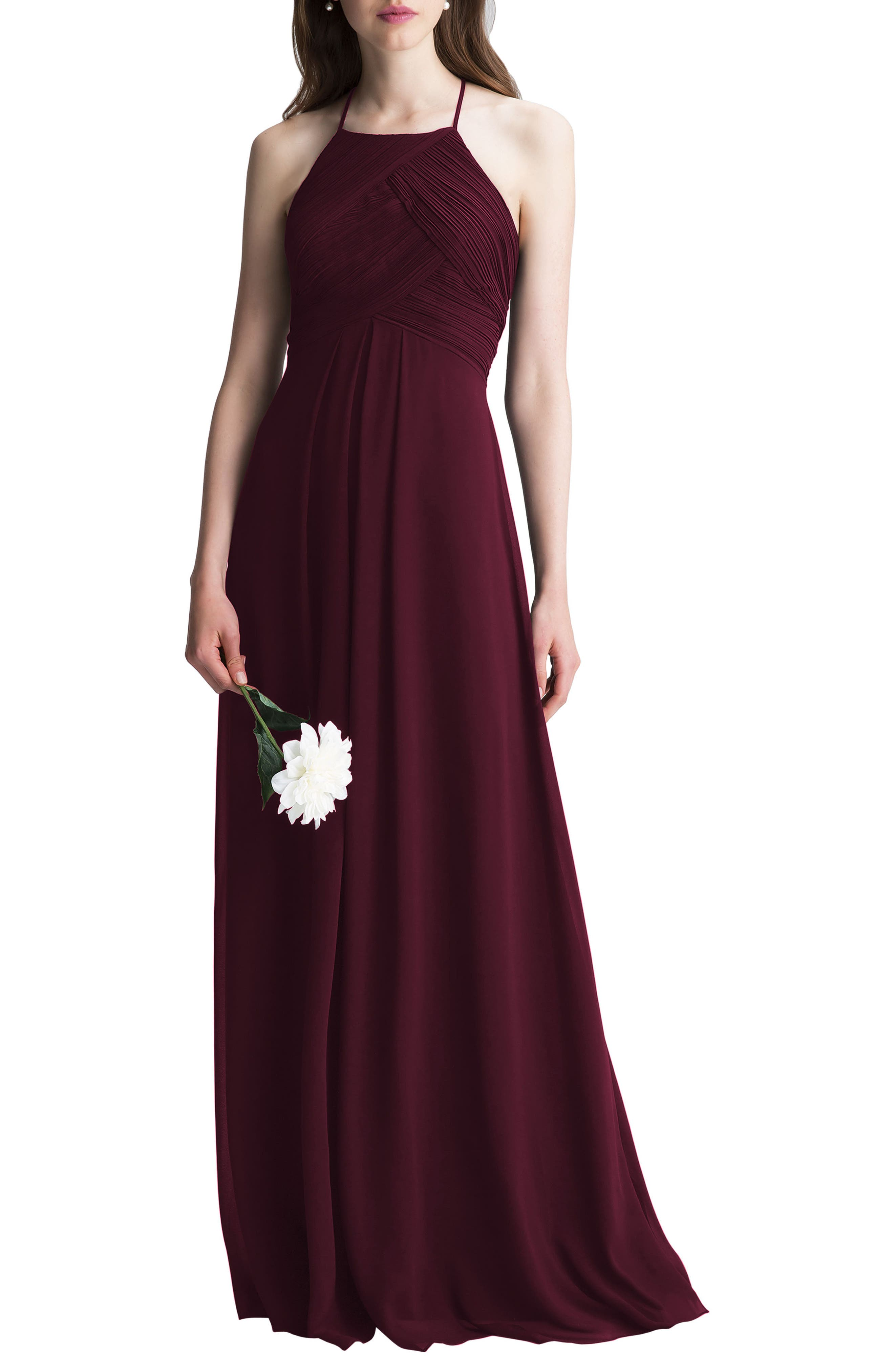#levkoff Halter Chiffon A-Line Gown, Red