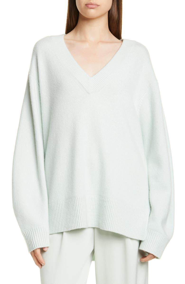 VINCE V-Neck Cashmere Tunic Sweater, Main, color, ALOE