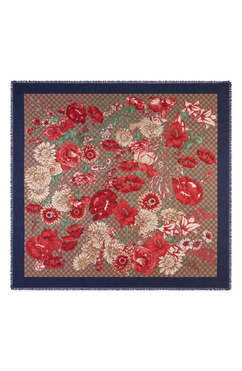 GUCCI GG Supreme Spring Bouquet Modal & Silk Shawl, Main, color, BEIGE/ BLUE