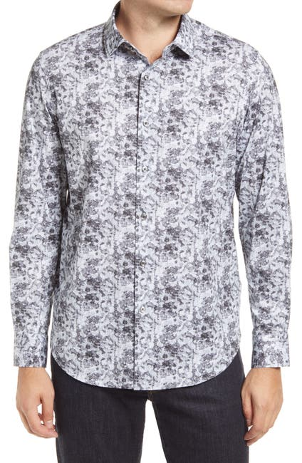 Image of Bugatchi OoohCotton® Tech Marbled Knit Button-Up Shirt