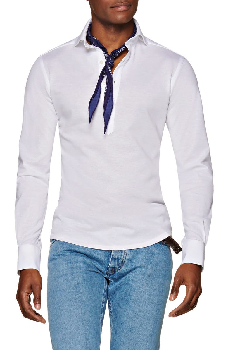 SUITSUPPLY Extra Slim Fit Knit Popover Shirt, Main, color, WHITE