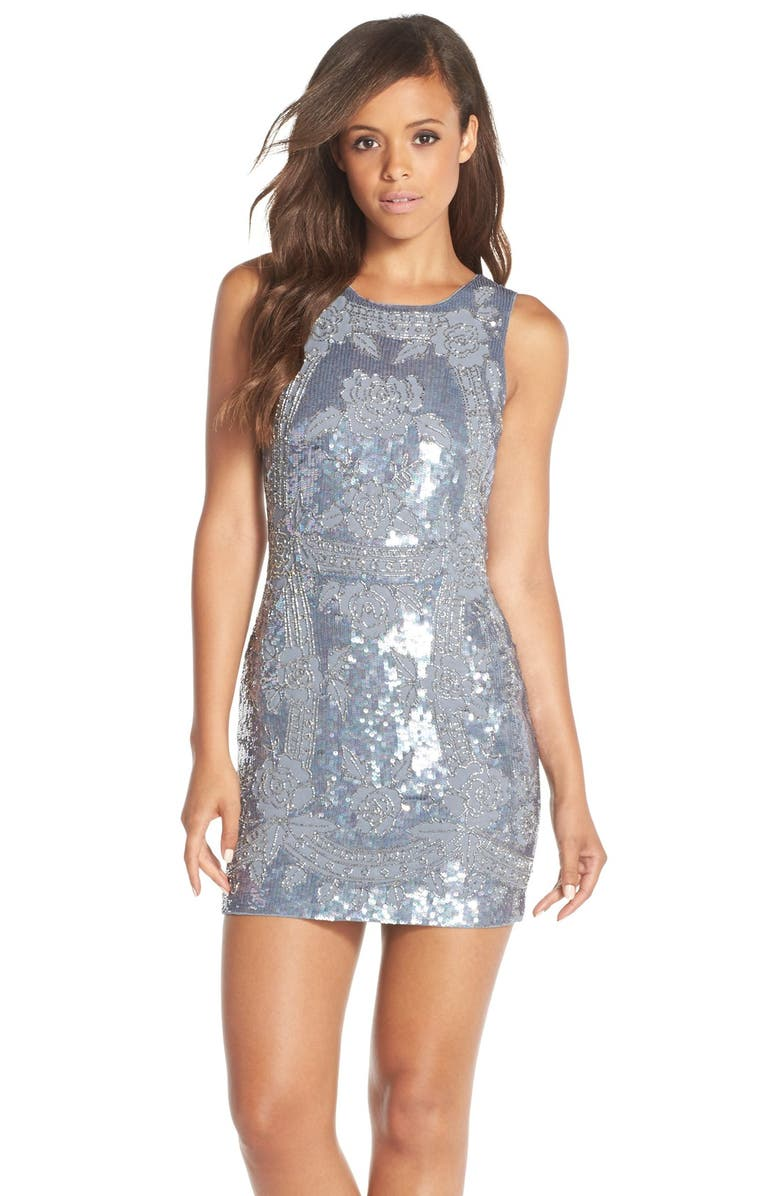 NEEDLE & THREAD 'Dust' Embellished Georgette Minidress, Main, color, 450