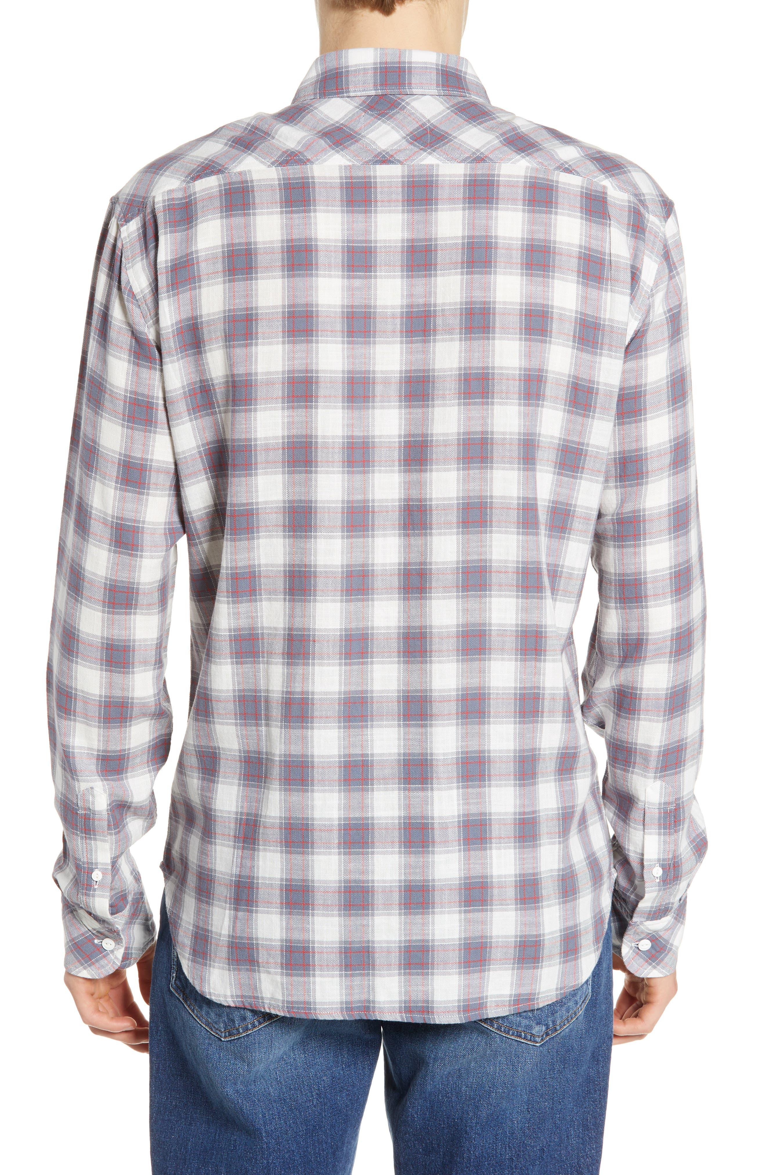 ,                             Wyatt Regular Fit Plaid Sport Shirt,                             Alternate thumbnail 3, color,                             OCEAN TANGERINE