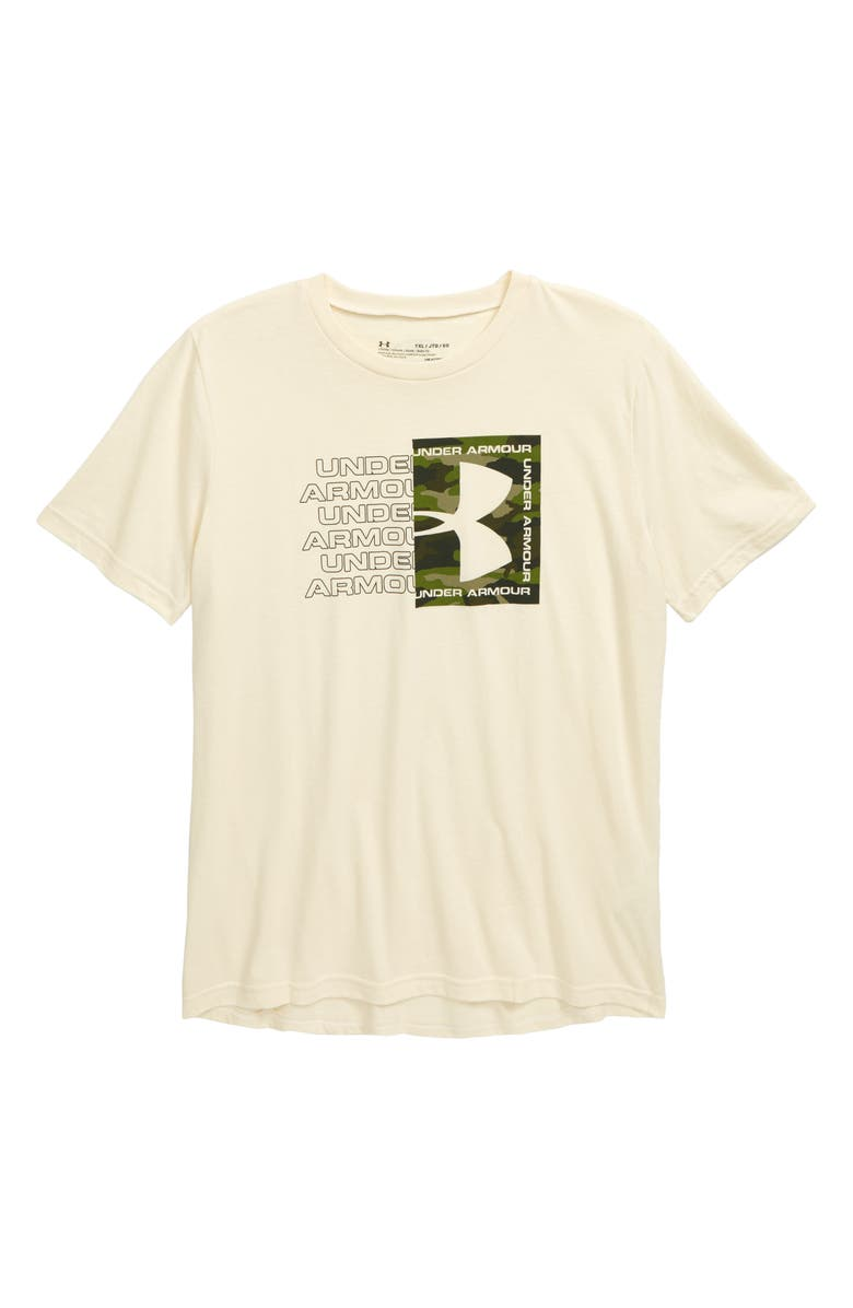 UNDER ARMOUR Rival Branded Graphic HeatGear<sup>®</sup> T-Shirt, Main, color, BUTTER WHITE/ ARTILLERY GREEN