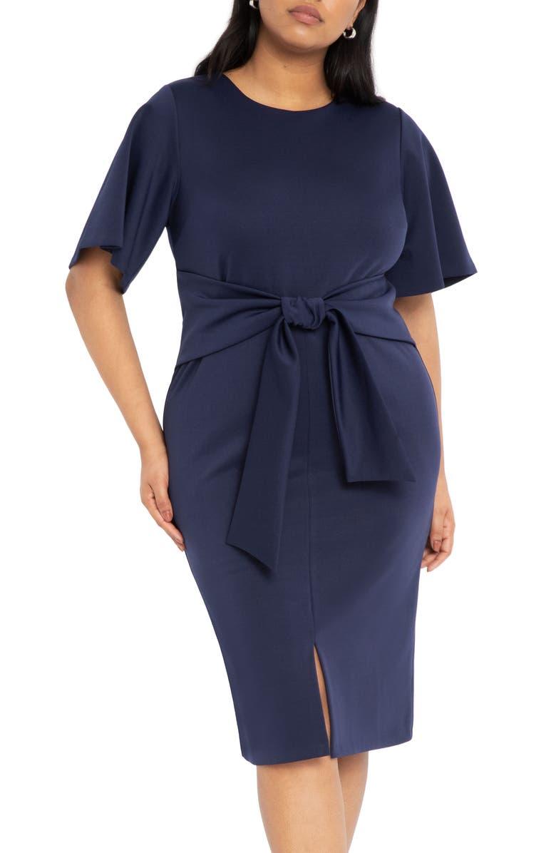 ELOQUII Tie Waist Scuba Crepe Dress, Main, color, 400