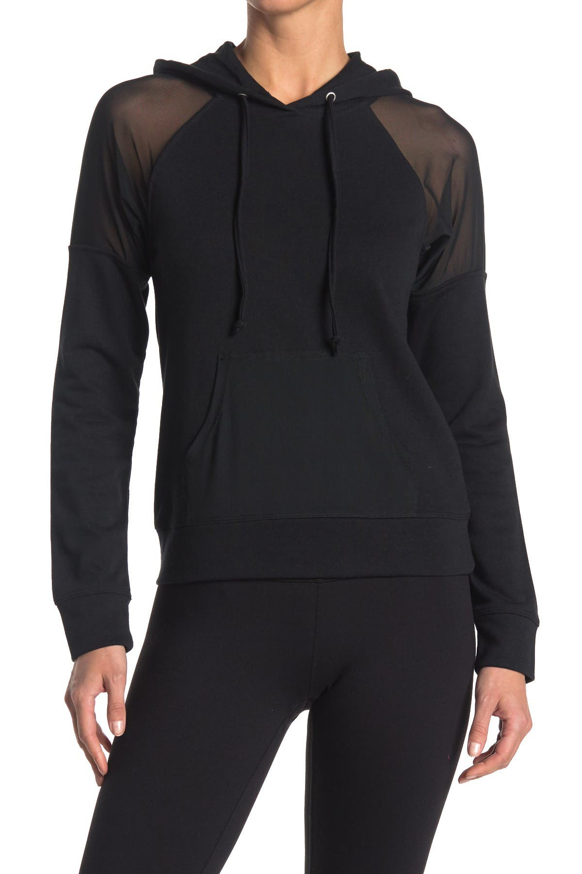 Image of MATERIAL GIRL Mesh Panel Pullover Hoodie