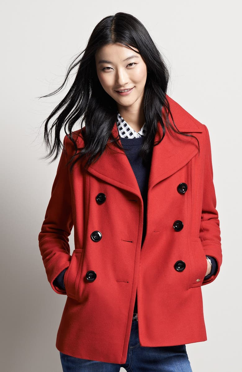 ELLEN TRACY Double Breasted Peacoat, Main, color, 029