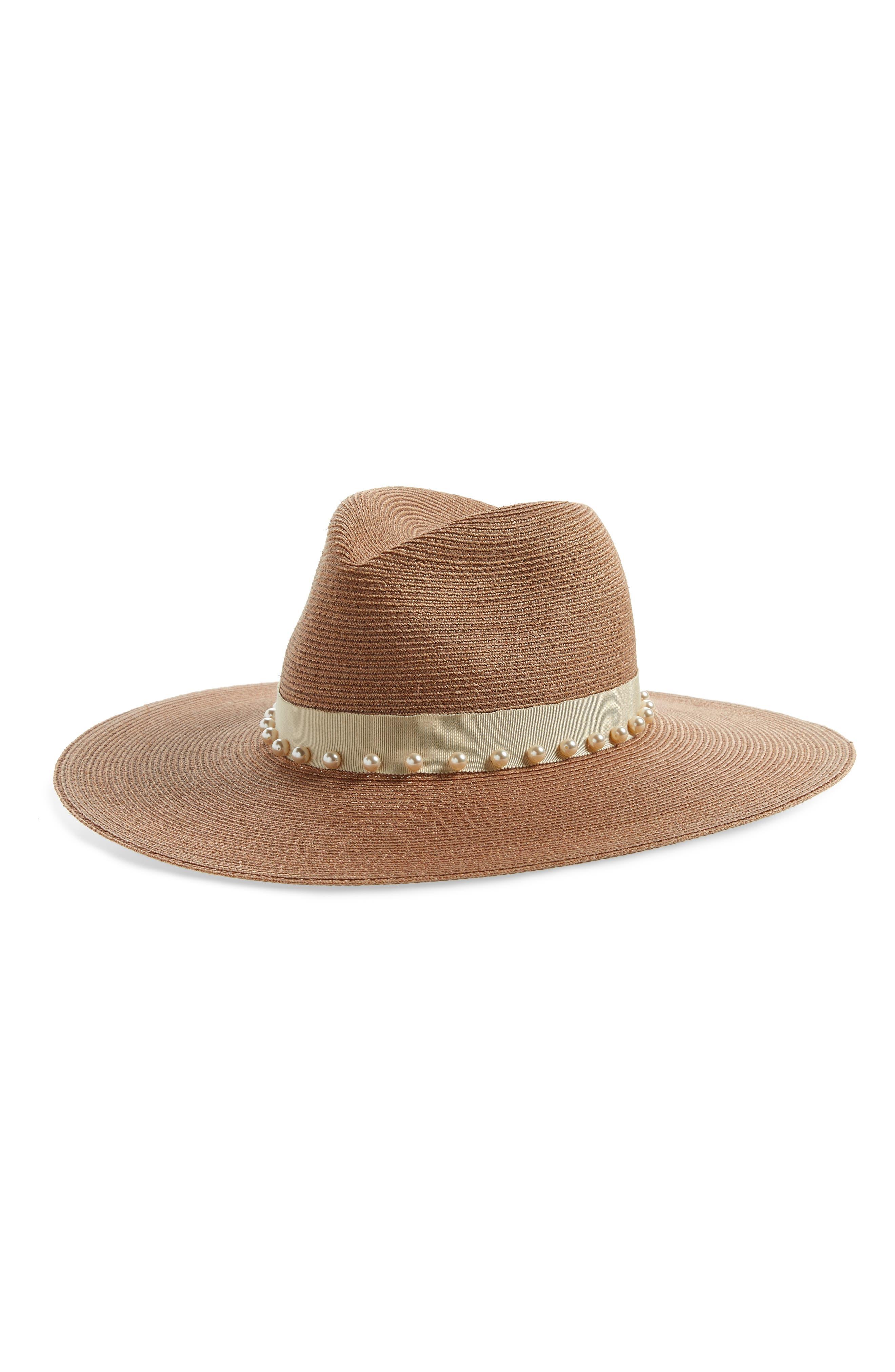 ,                             Emmanuelle Imitation Pearl Embellished Panama Hat,                             Main thumbnail 1, color,                             SEPIA