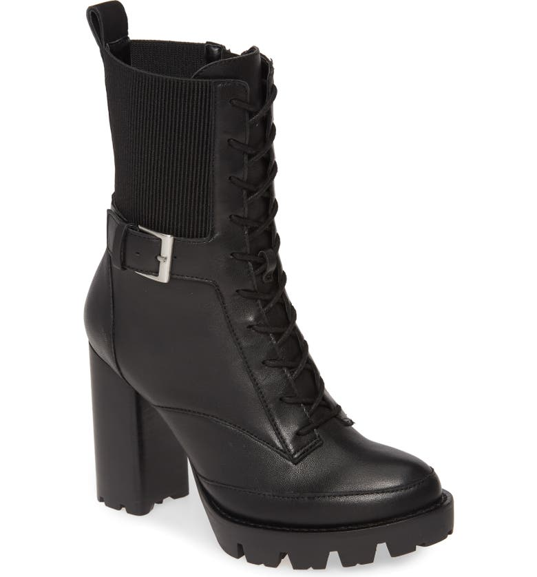 CHARLES DAVID Govern Lace-Up Platform Boot, Main, color, BLACK LEATHER