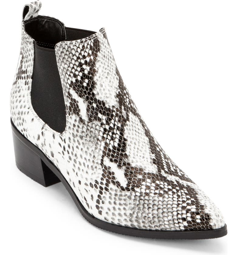 BLONDO Emelia Waterproof Chelsea Bootie, Main, color, BLACK/ WHITE SNAKE PRINT LEA