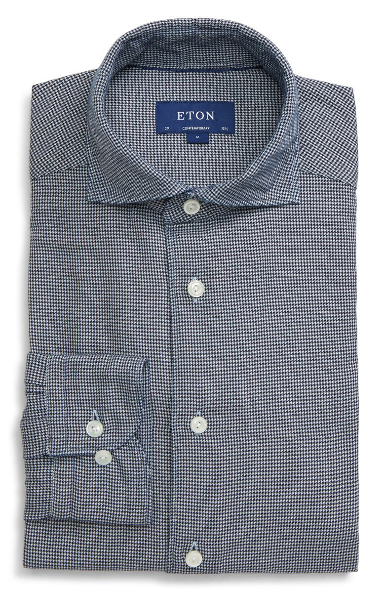 ETON Soft Casual Line Contemporary Fit Houndstooth Shirt, Main, color, BLUE