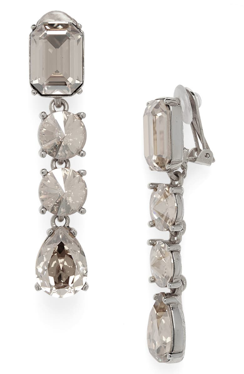 OSCAR DE LA RENTA Classic Crystal Linear Drop Earrings, Main, color, CRYSTAL