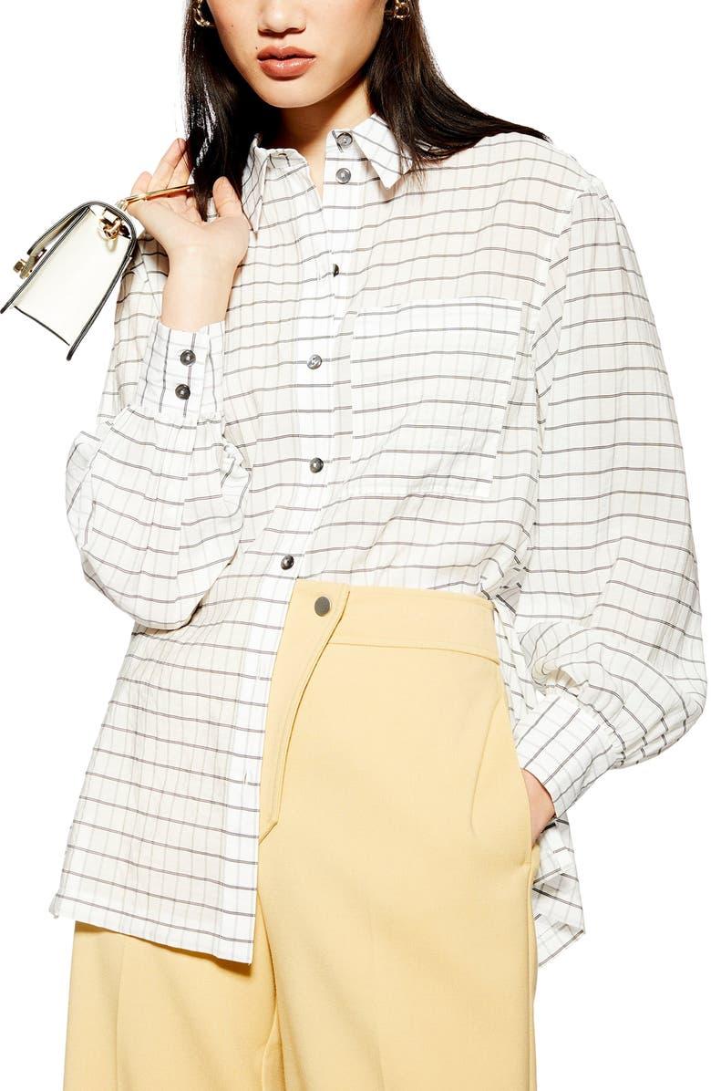 TOPSHOP Self Check Oversize Shirt, Main, color, WHITE MULTI
