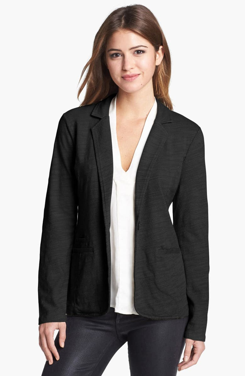 CASLON<SUP>®</SUP> Roll Sleeve Knit Blazer, Main, color, 001