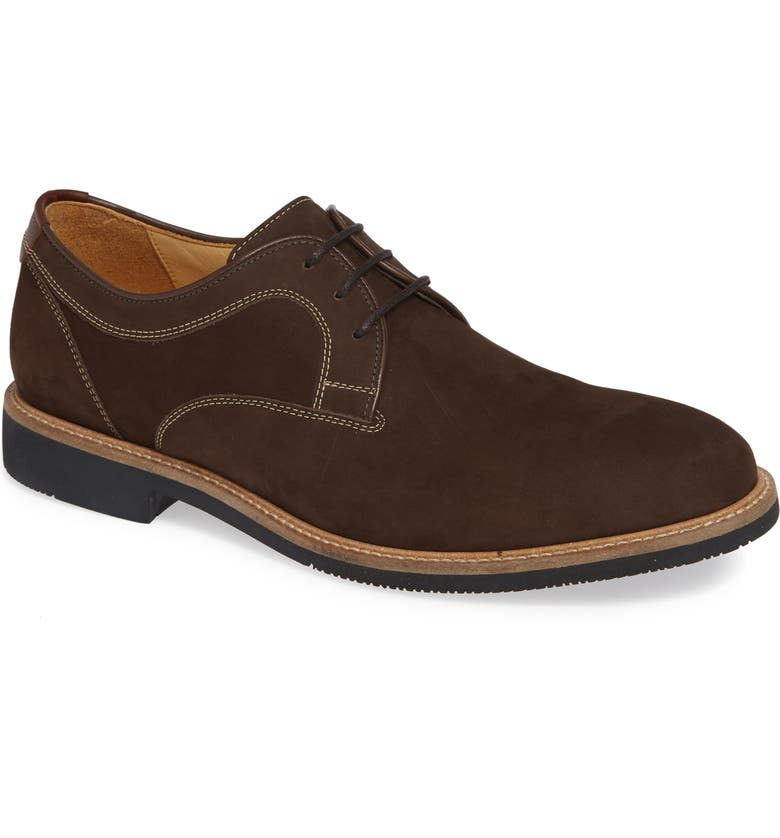 JOHNSTON & MURPHY Barlow Plain Toe Derby, Main, color, CHOCOLATE NUBUCK