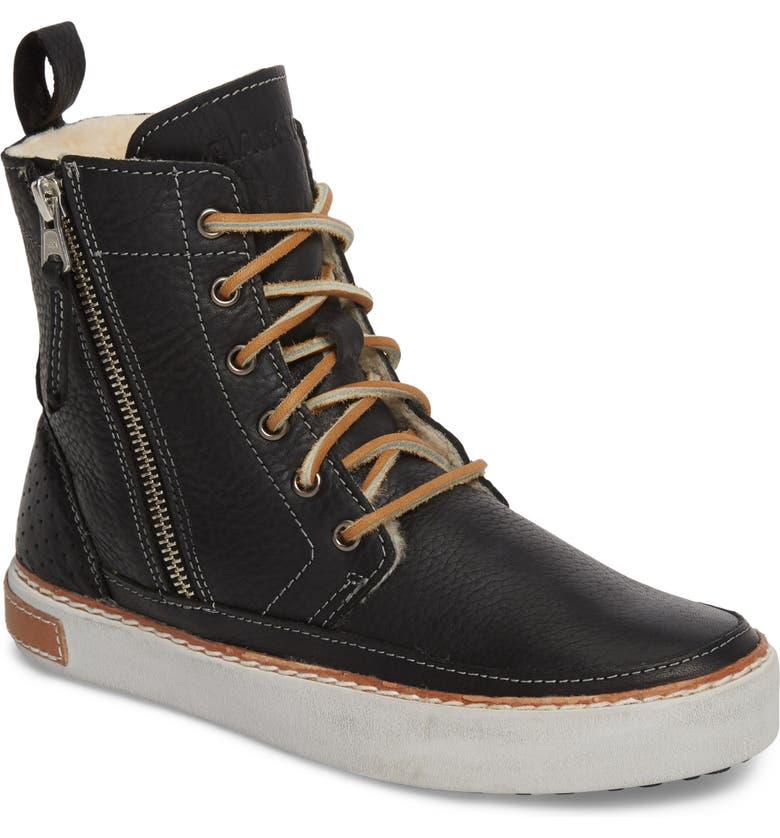 BLACKSTONE 'CW96' Genuine Shearling Lined Sneaker Boot, Main, color, BLACK LEATHER