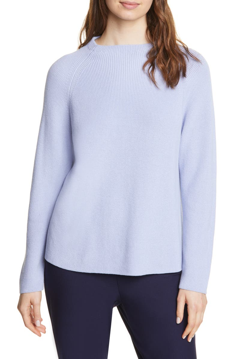 EILEEN FISHER Organic Cotton Blend Sweater, Main, color, HYACINTH