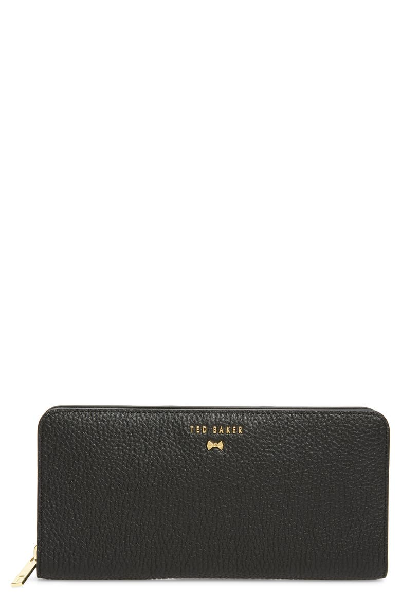 TED BAKER LONDON Maely Faceted Bow Leather Zip Matinée Wallet, Main, color, BLACK