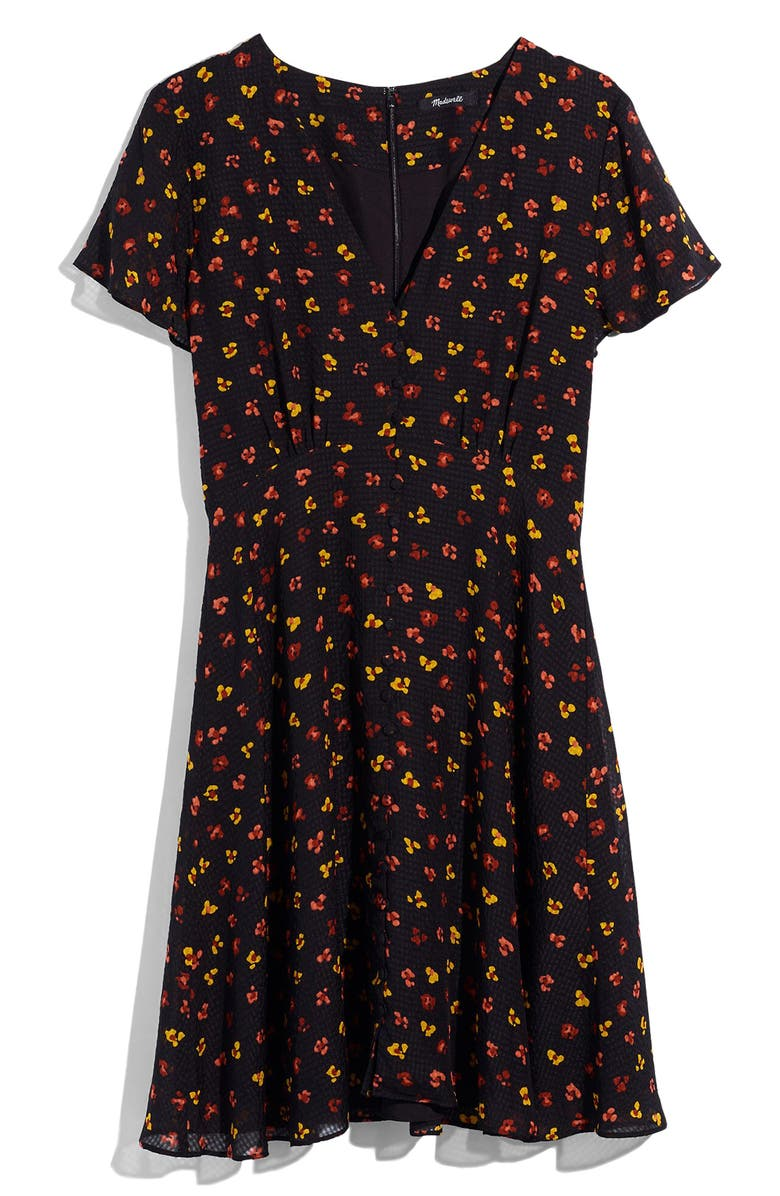 Silk Button Front Swing Dress In Feline Floral by Madewell