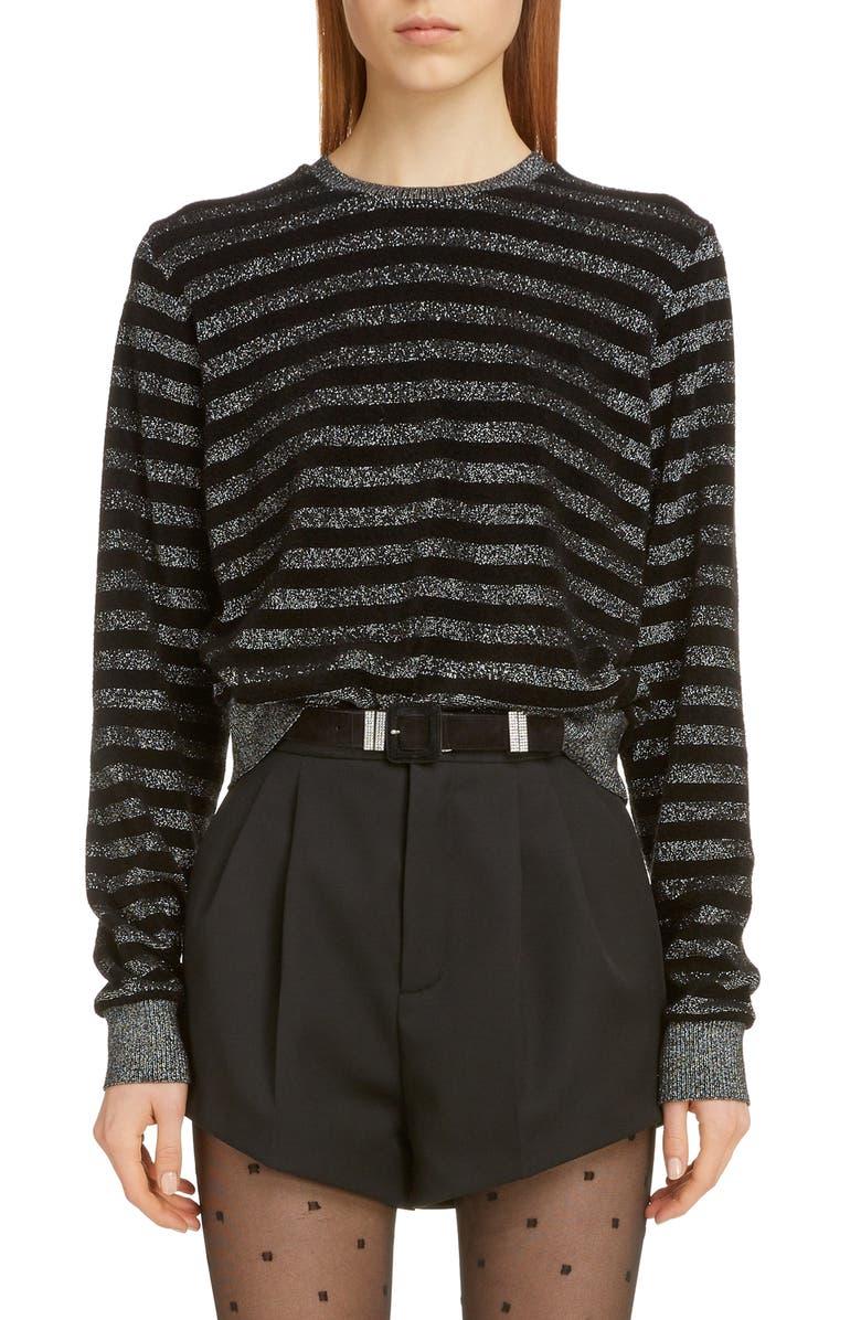 SAINT LAURENT Metallic Stripe Sweater, Main, color, NOIR/ARGENT