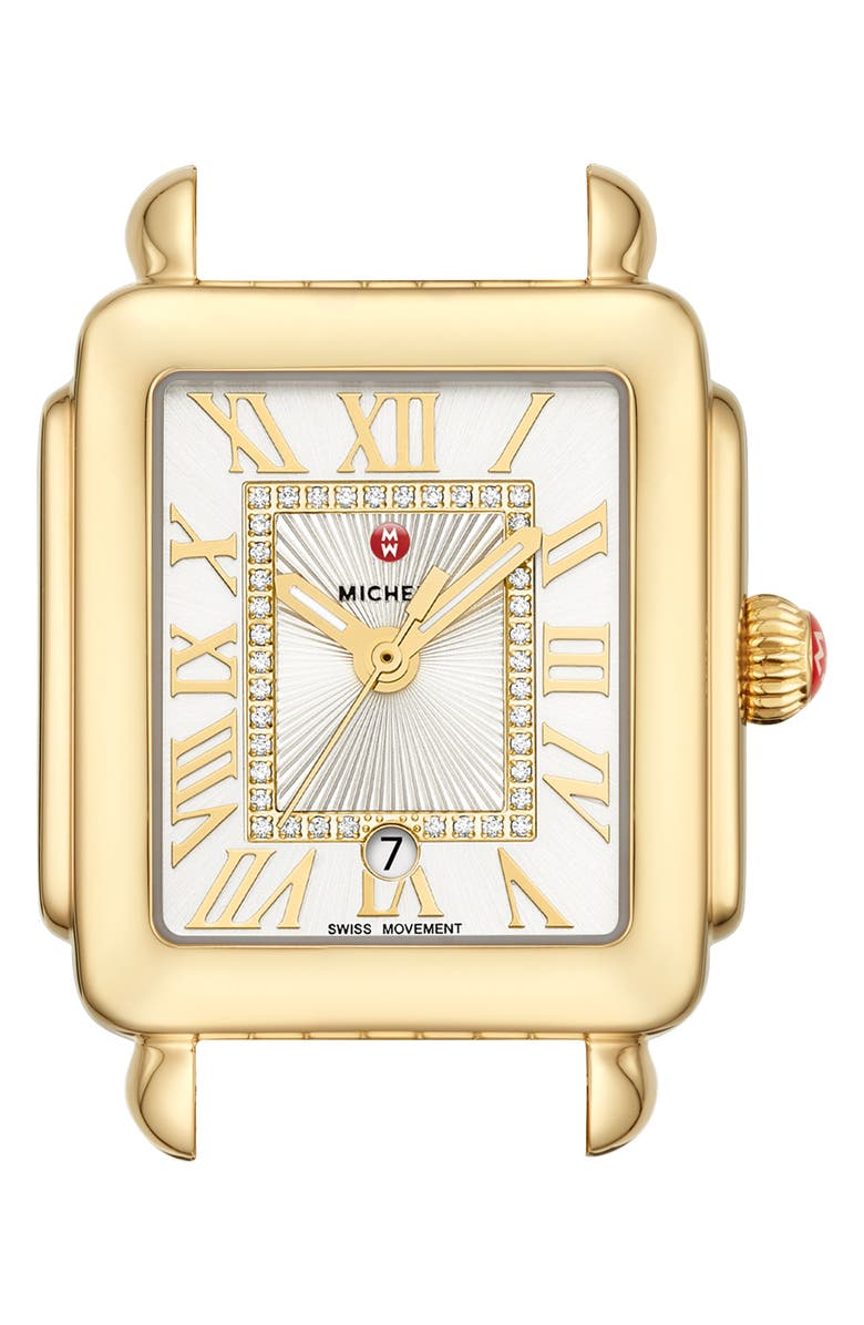 MICHELE Deco Madison Mid Diamond Dial Watch Head, 29mm x 31mm, Main, color, GOLD/ WHITE SUNRAY