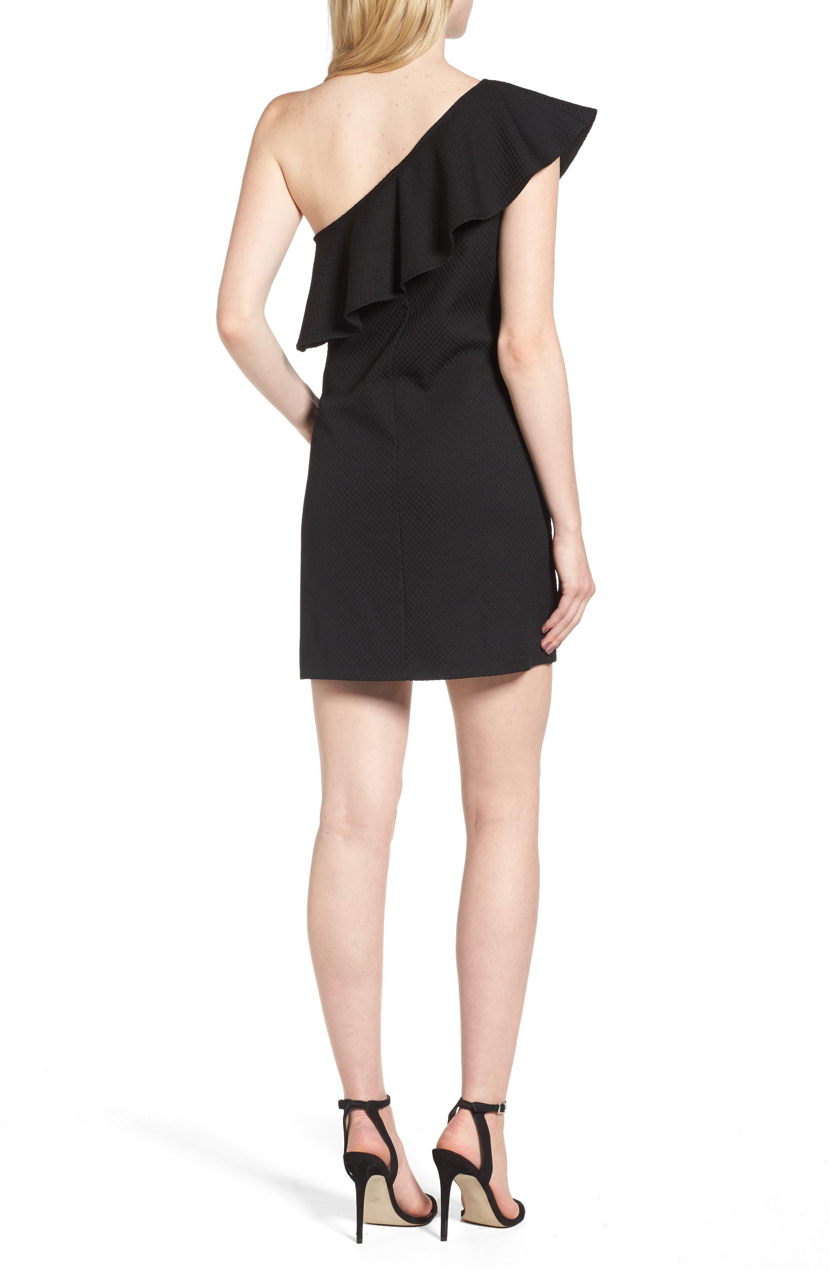 ,                             Ruffle One-Shoulder Dress,                             Alternate thumbnail 2, color,                             001