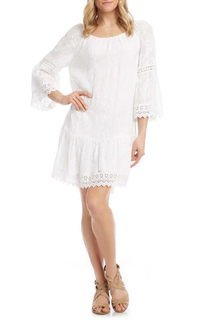 Karen Kane MIXED LACE RUFFLE HEM SHIFT DRESS