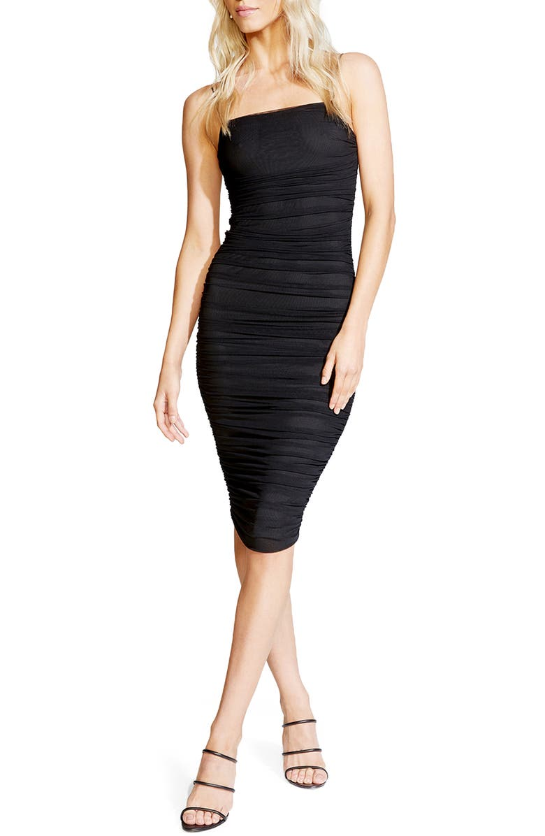 BARDOT Naomi Ruched Body-Con Dress, Main, color, 001