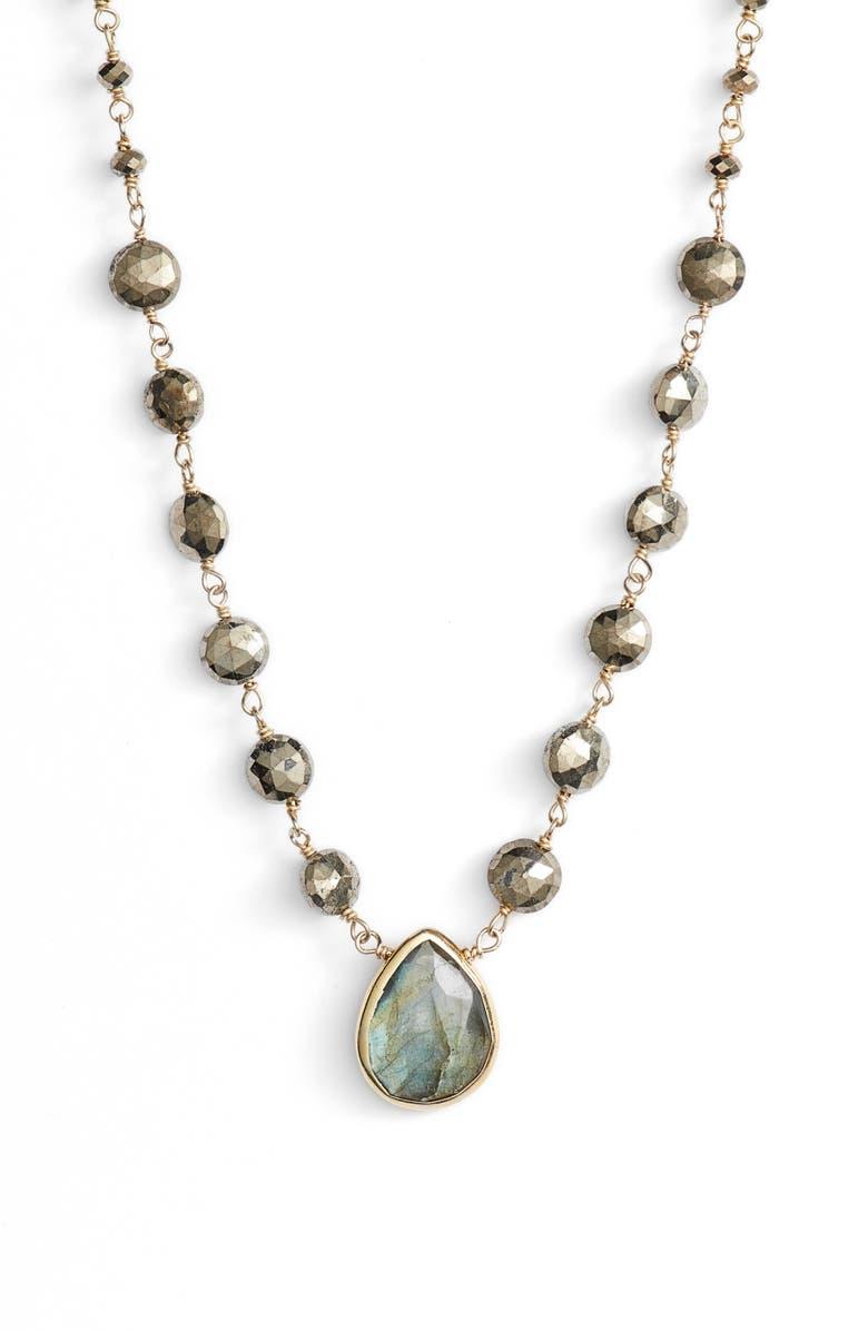 ELA RAE Ara Collar Necklace, Main, color, PYRITE/ LABRADORITE