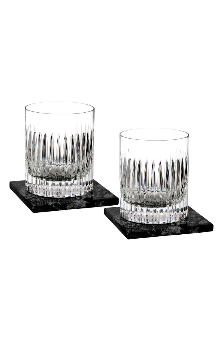 WATERFORD Aras Set of 2 Lead Crystal Double Old Fashioned Glasses with Coasters, Main, color, 100