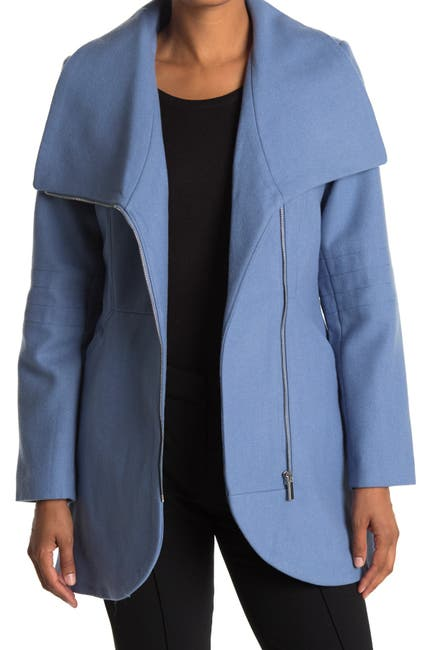 Image of French Connection Tulip Hem Asymmetrical Hem Wool Blend Coat