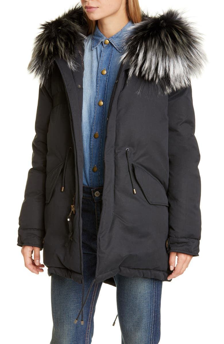 MR & MRS ITALY Hooded Down Puffer Parka with Removable Genuine Fox Fur Trim, Main, color, BLACK