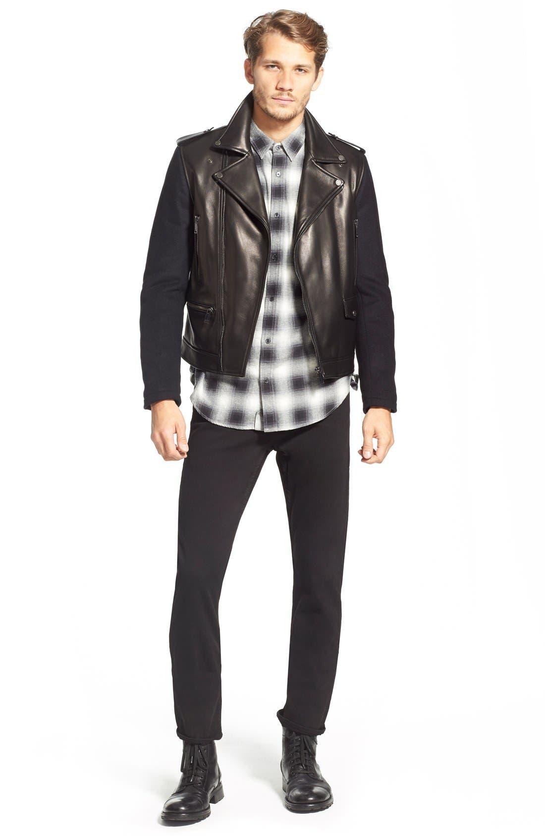 ,                             Melton Sleeve Leather Jacket,                             Alternate thumbnail 4, color,                             001