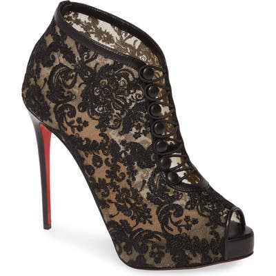 Christian Louboutin Top Top Lace Peep Toe Bootie, Black