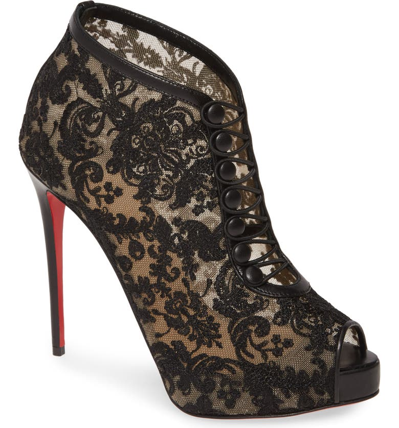 CHRISTIAN LOUBOUTIN Top Top Lace Peep Toe Bootie, Main, color, BLACK LACE