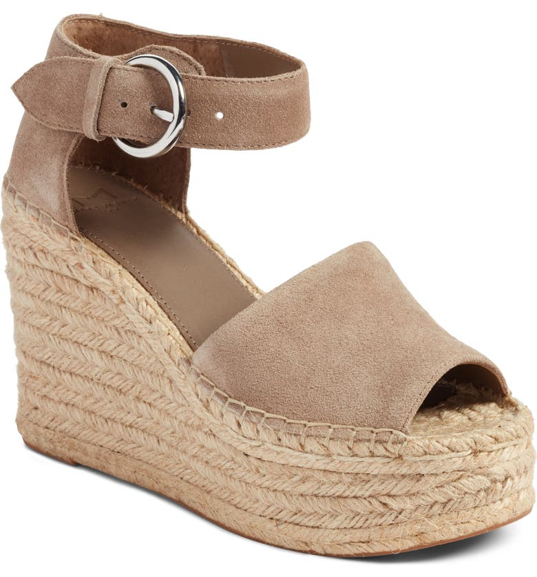 MARC FISHER LTD Alida Espadrille Platform Wedge, Main, color, TAUPE SUEDE