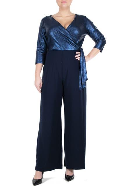 Image of Nina Leonard 3/4 Length Sleeve Wrap Tie Top