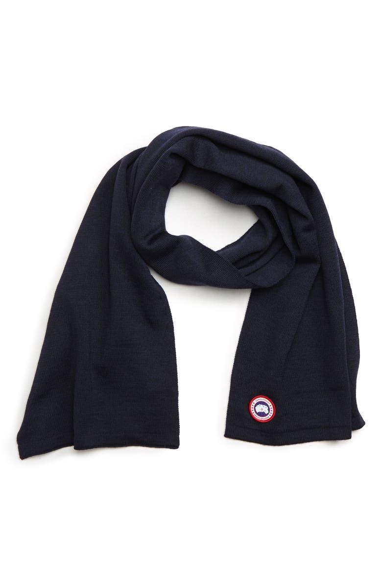 CANADA GOOSE Merino Wool Scarf, Main, color, NAVY