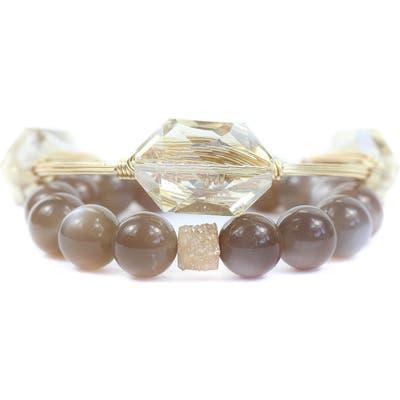 Bourbon And Boweties Moonstone, Drusy & Crystal Bangle & Stretch Bracelet Set