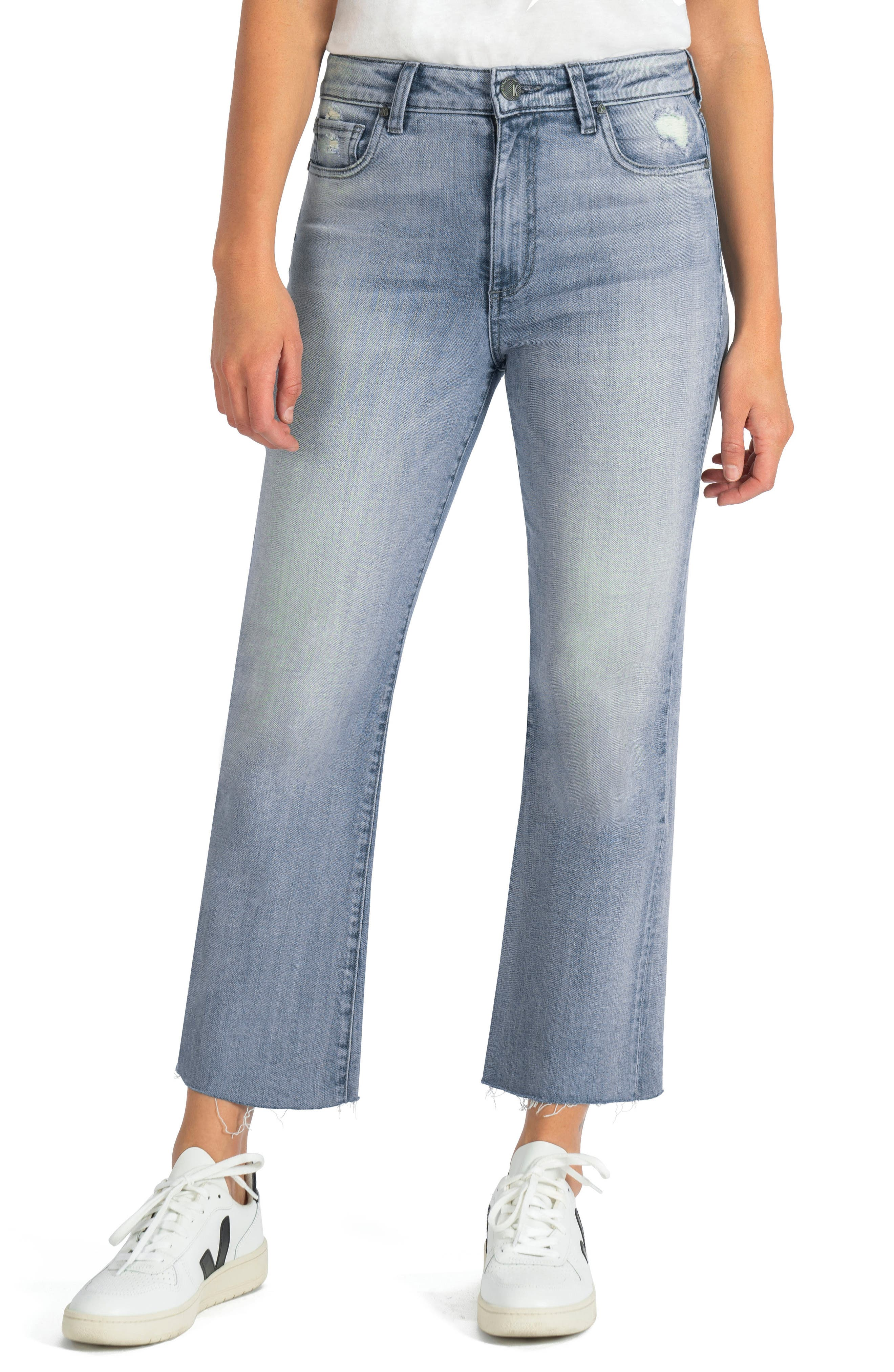 Ankle-length raw hems make a casual-cool statement on these stretch-kissed high-waist jeans with the perfect hint of flare. Style Name: Kut From The Kloth Kelsey High Waist Raw Hem Kick Flare Jeans (Difference). Style Number: 6054288. Available in stores.