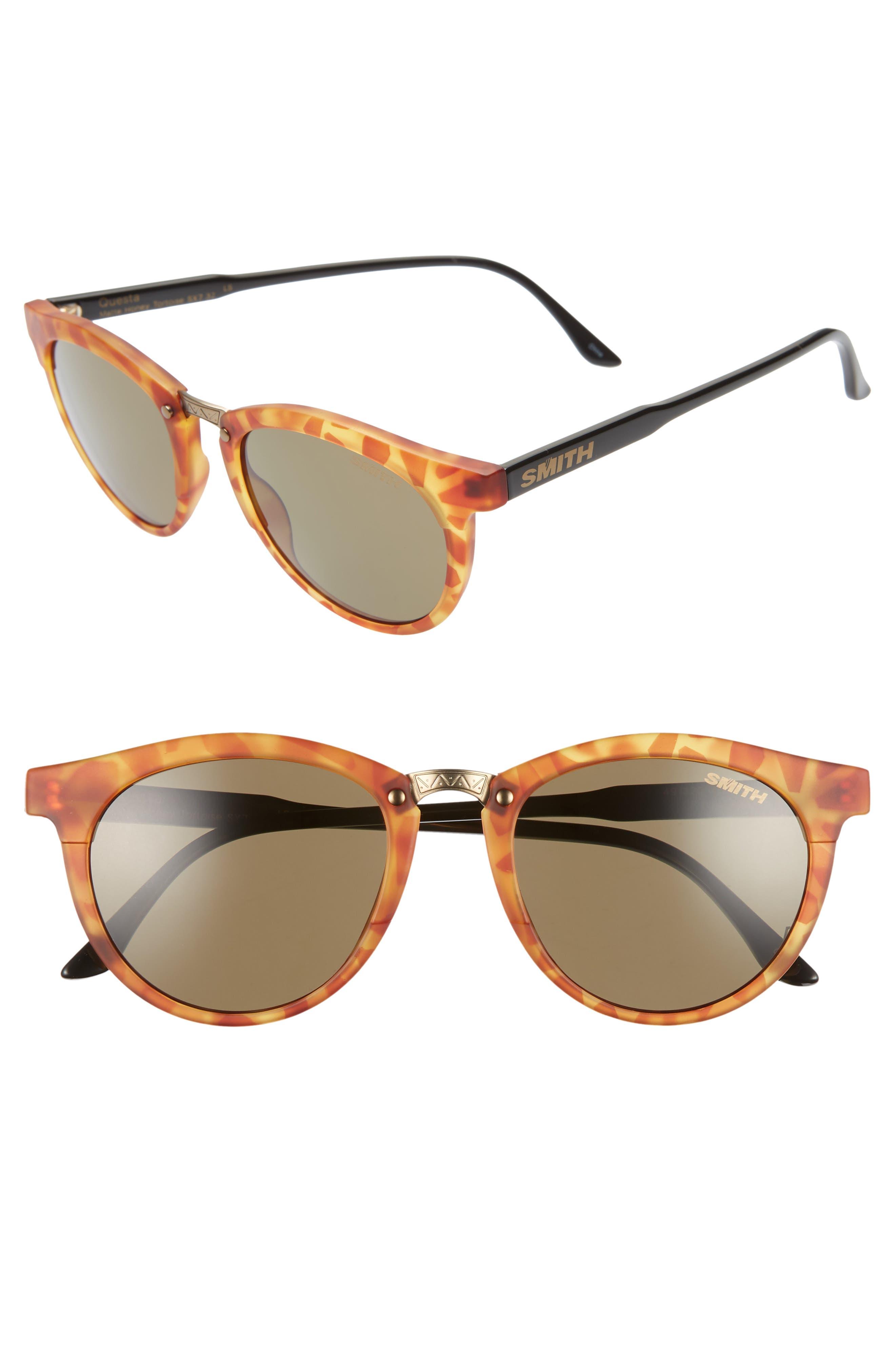 Questa 49mm ChromaPop Polarized Sunglasses, Main, color, HONEY TORTOISE/ GREY GREEN