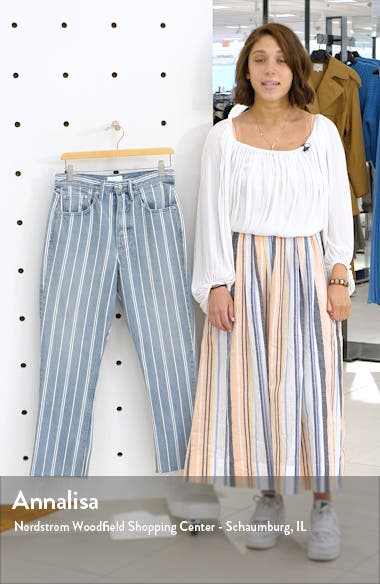 The Darcy Stripe Super High Waist Crop Flare Jeans, sales video thumbnail