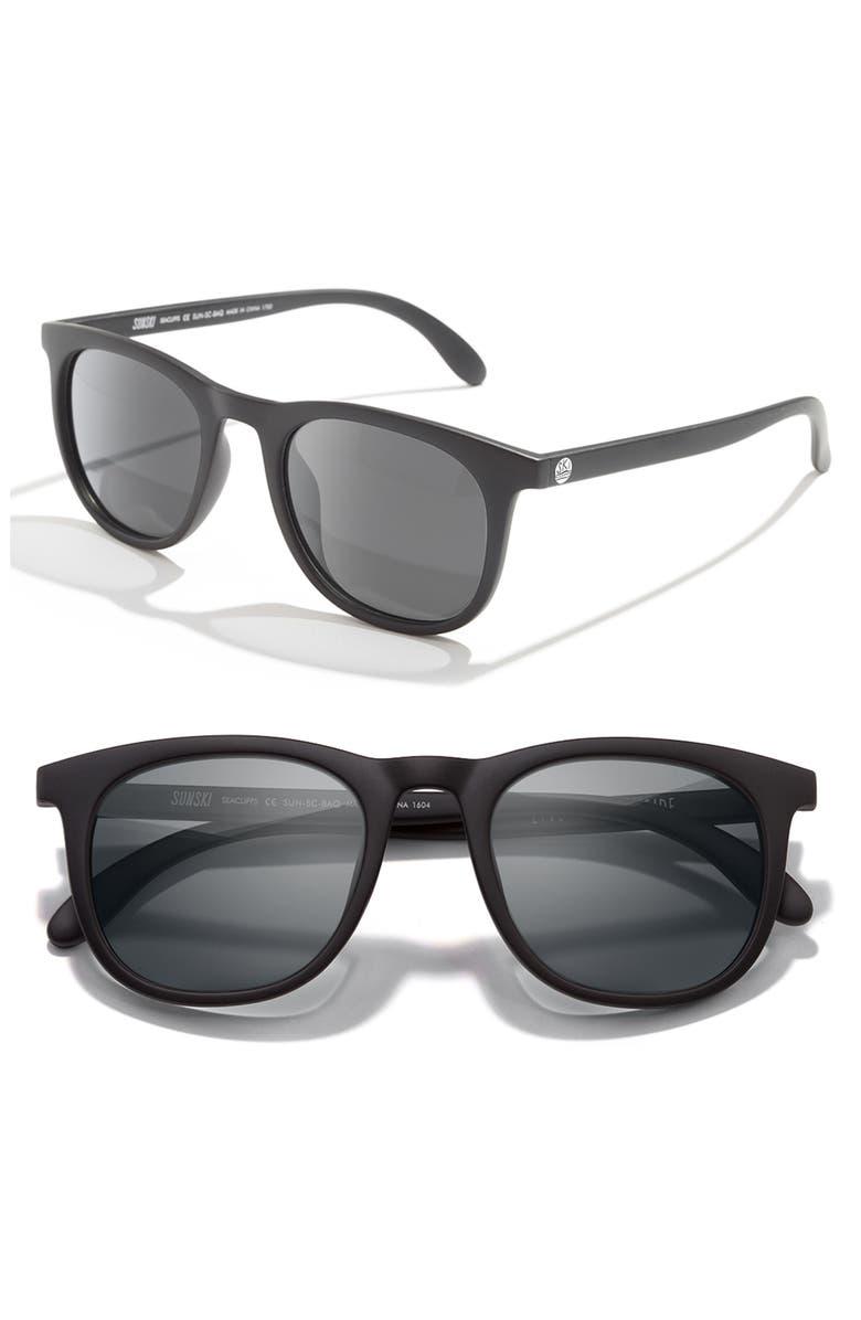 SUNSKI Seacliff 48mm Polarized Sunglasses, Main, color, BLACK / SLATE