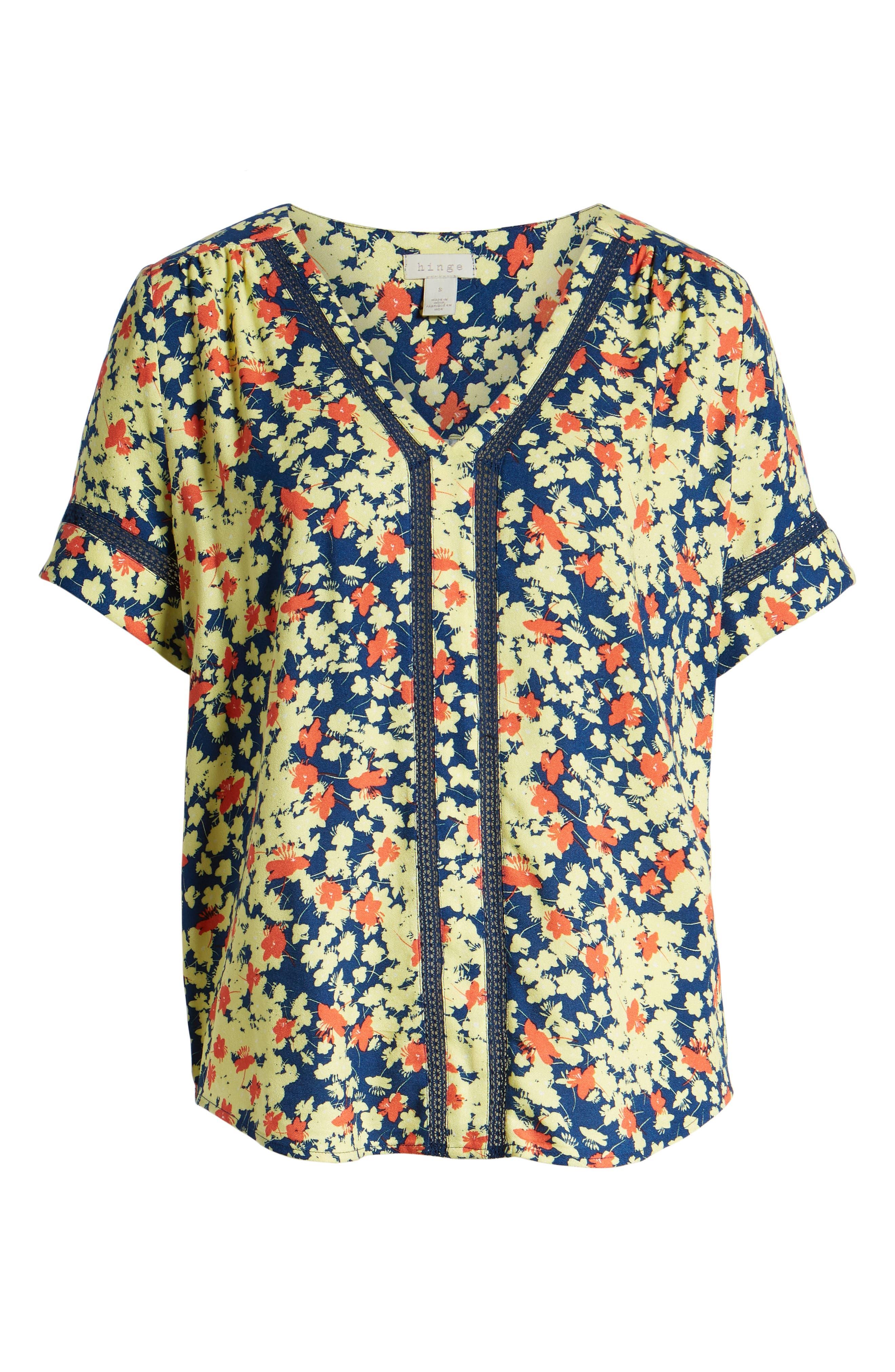 ,                             Pullover V-Neck Blouse,                             Alternate thumbnail 6, color,                             BLUE ESTATE- CORAL MIA FLORAL
