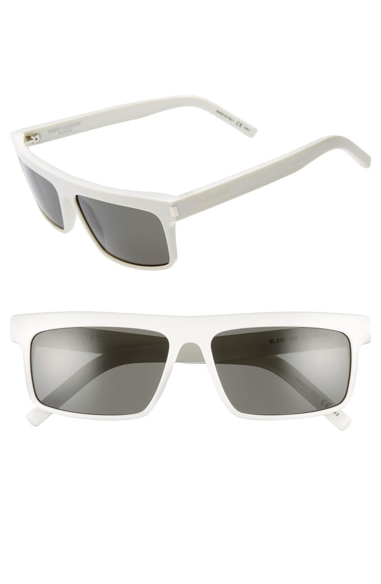SAINT LAURENT 57mm Flat Top Sunglasses, Main, color, IVORY/ GREY