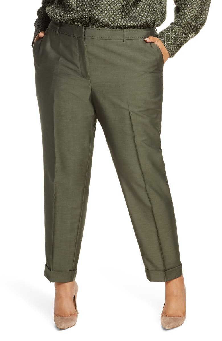 LAFAYETTE 148 NEW YORK Clinton Pickstitch Cuff Pants, Main, color, DILL